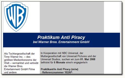 Anti Piracy Stellenanzeige