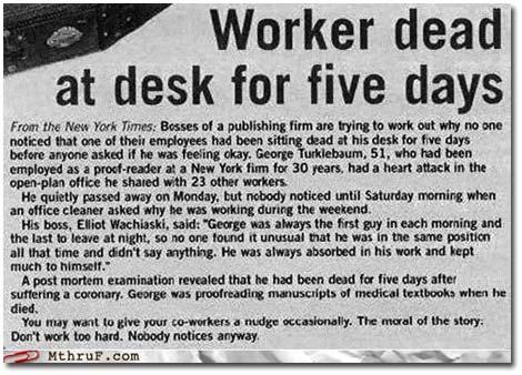 Dead at Desk
