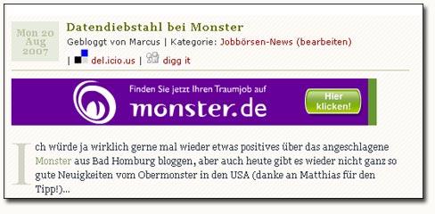 Monster Werbung