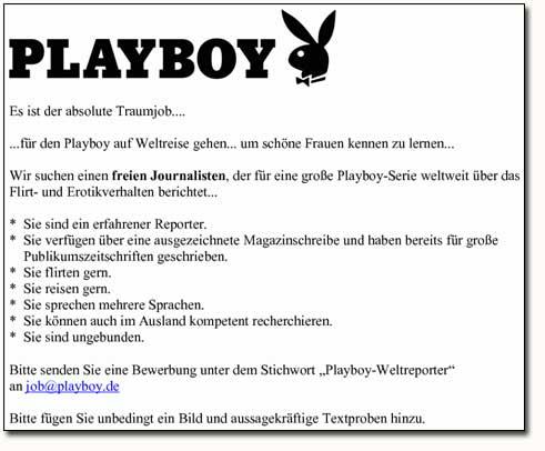 Playboy Stellenanzeige