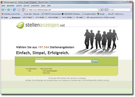 Stellenanzeigen.net Screenshot